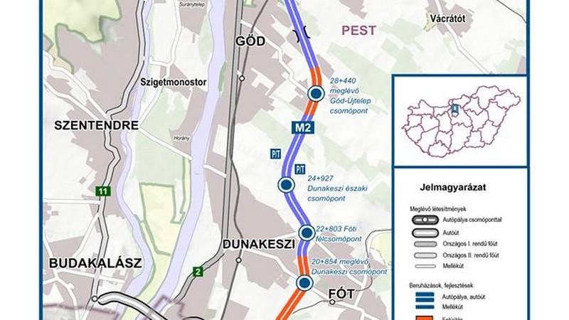 M2 bővítése - Dunakeszi
